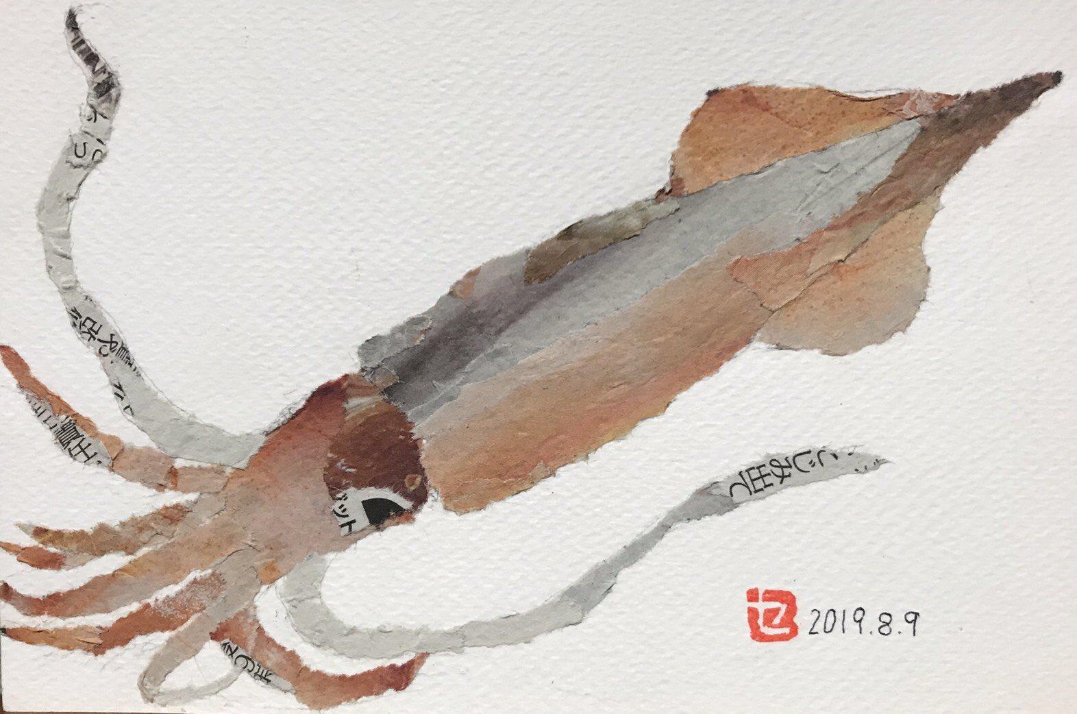 新聞ちぎり絵のイカ、クオリティが高くて素敵です。90歳セツさんの作品です。