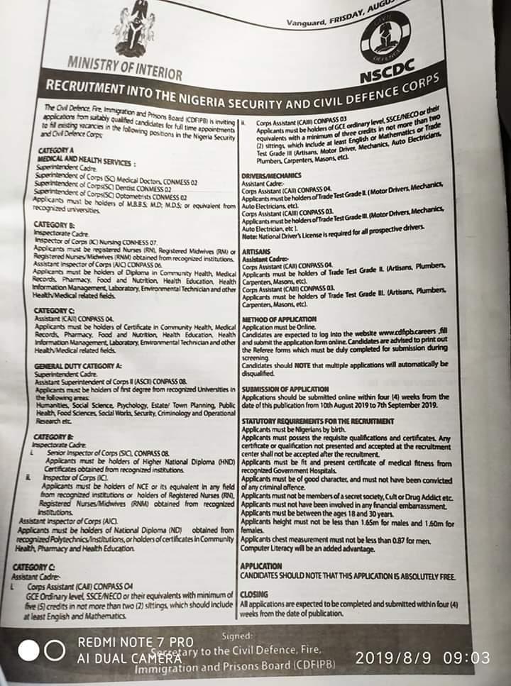 Jobs]-NSCDC Recruitment 2019/2020 Application Form Portal