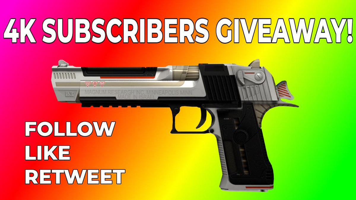 4K SUBSCRIBERS GIVEAWAY!  I recently reached 4k subscribers on you #YouTube, so to celebrate I am giving away a Desert Eagle | Mecha Industries FT!  Giveaway ends in 7 days!  #csgo #csgoskins #CSGOGiveaway #csgogiveaways #csgovideos #csgogaming #csgofree #csgoskinpic.twitter.com/ZyC179uzUR