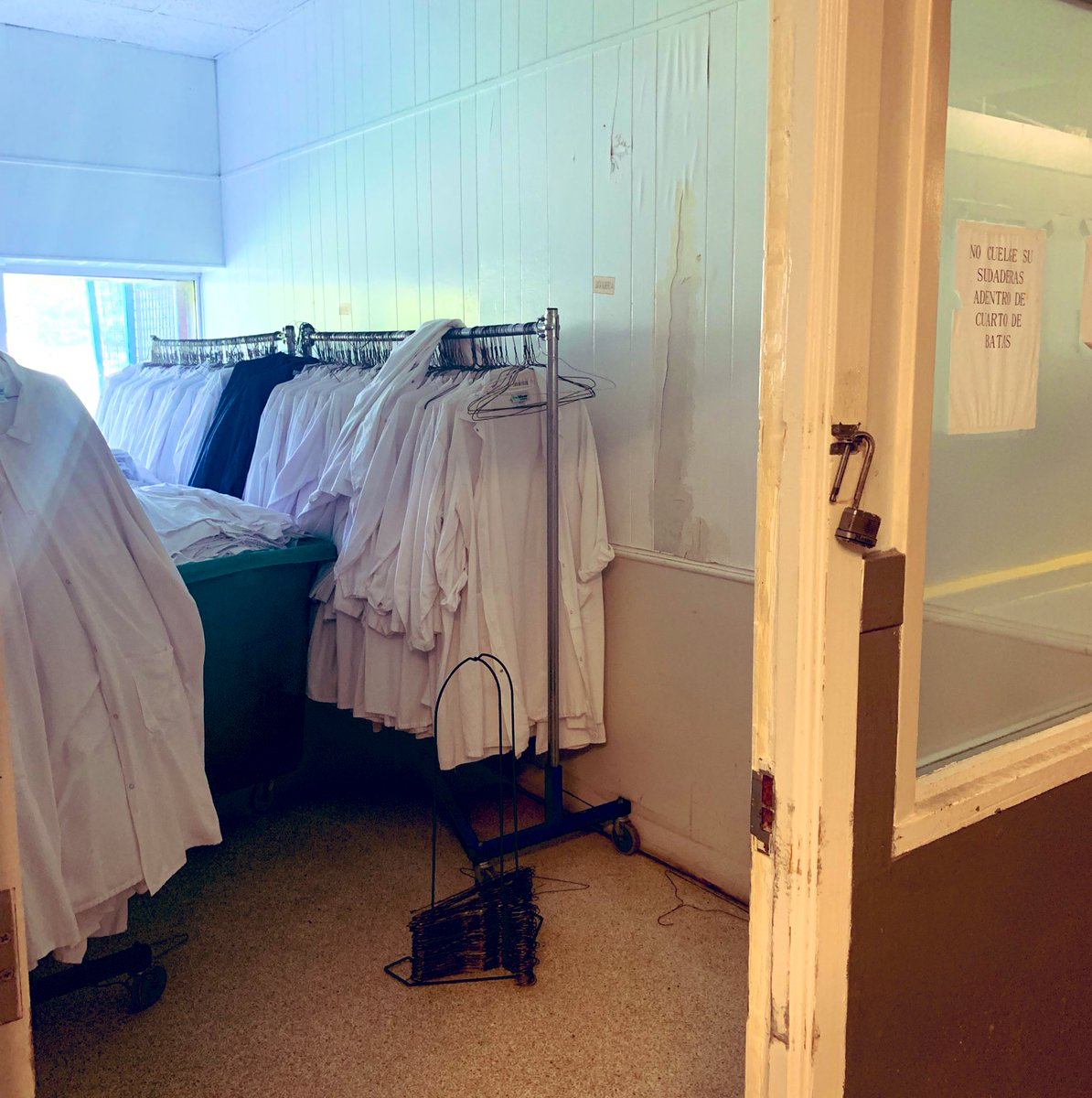 Unused uniforms at the PH Food Inc. meatpacking plant -only a handful of workers came to work today -most still detained, others too afraid. Nearby, Koch Foods announced the company will host a job fair next week after workers at its 2 plants were detained. #ICEraids #ICEraidsMS <br>http://pic.twitter.com/VYwVUqd9hN