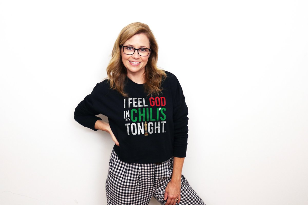 I Feel God in this @Chilis Tonight! Limited edition merchandise for sale at: represent.com/jenna Proceeds benefit: @gotrstl @supportKIND @TheComfortCrew @AdoptTogether #theoffice #dundies