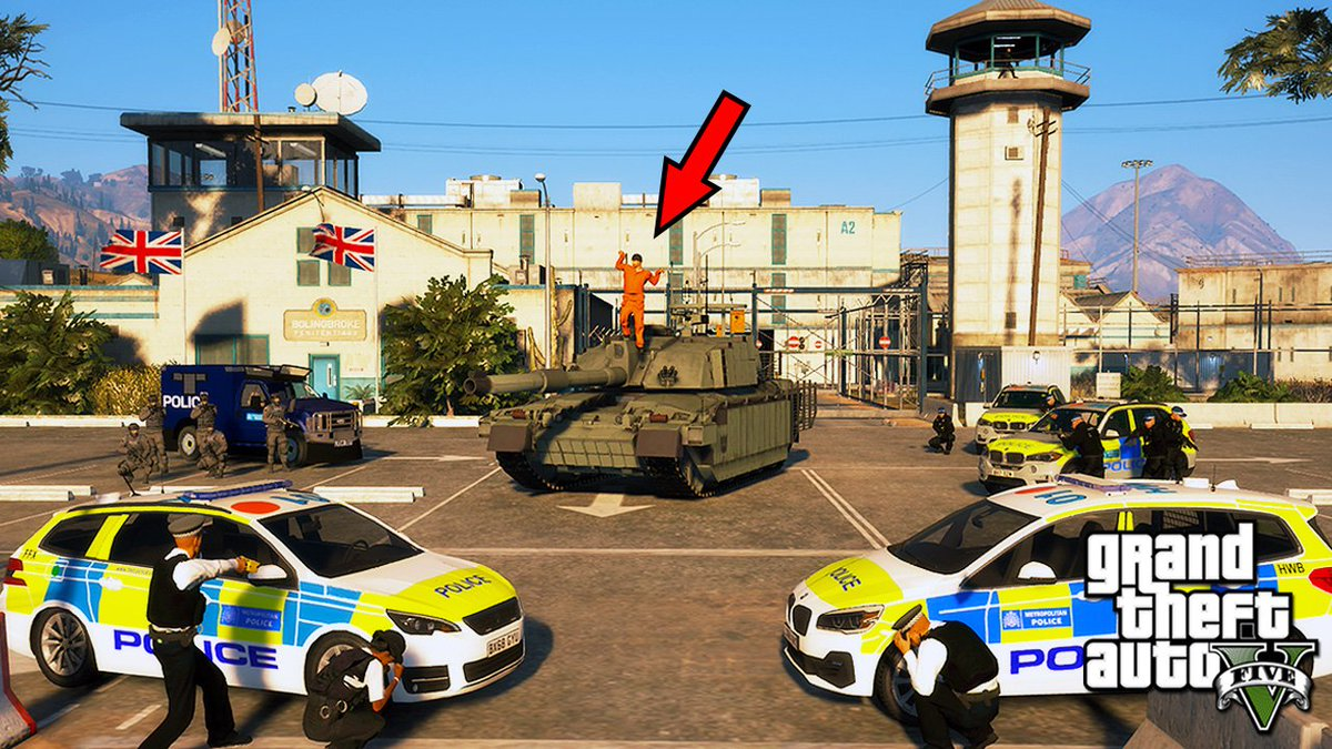 Stealing a Challenger TANK and Prison Break! (GTA 5 Real