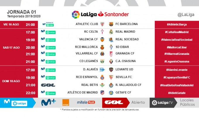 Calendario Formula 1 2020 Horarios.Horarios Y Fechas De La Jornada 1 De Laliga Santander 2019 2020
