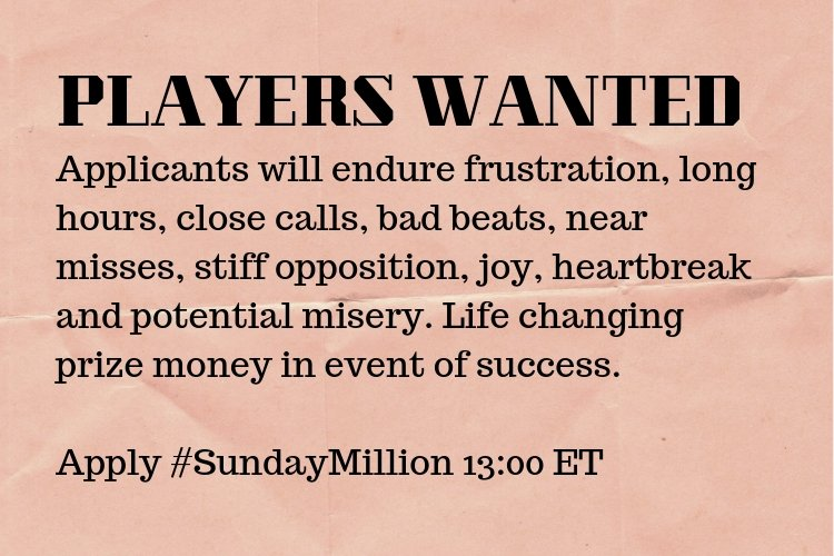 What are you doing this Sunday at 13:00 ET? #SundayMillion