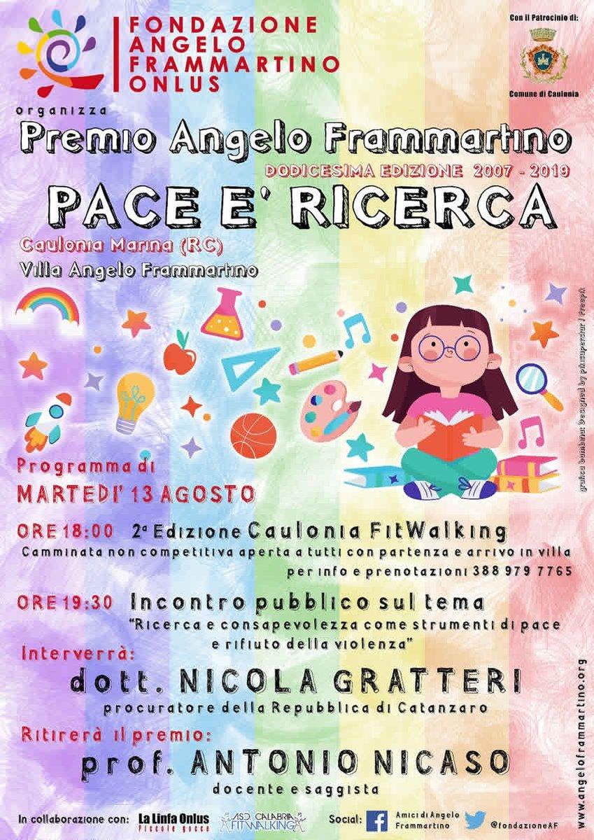 Premio Angelo Frammartino Pace e' Ricerca martedi' 13 agosto a Caulonia Marina con @AntonioNicaso e @NicolaGratteri