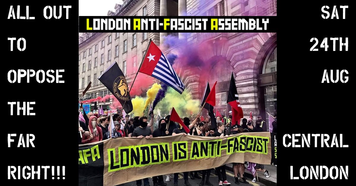 Alerta! All out on Saturday 24th August in Central London! Share Like Retweet #WeAreAllAntifascist Follow event for updates 👇🏽 m.facebook.com/events/5016312…