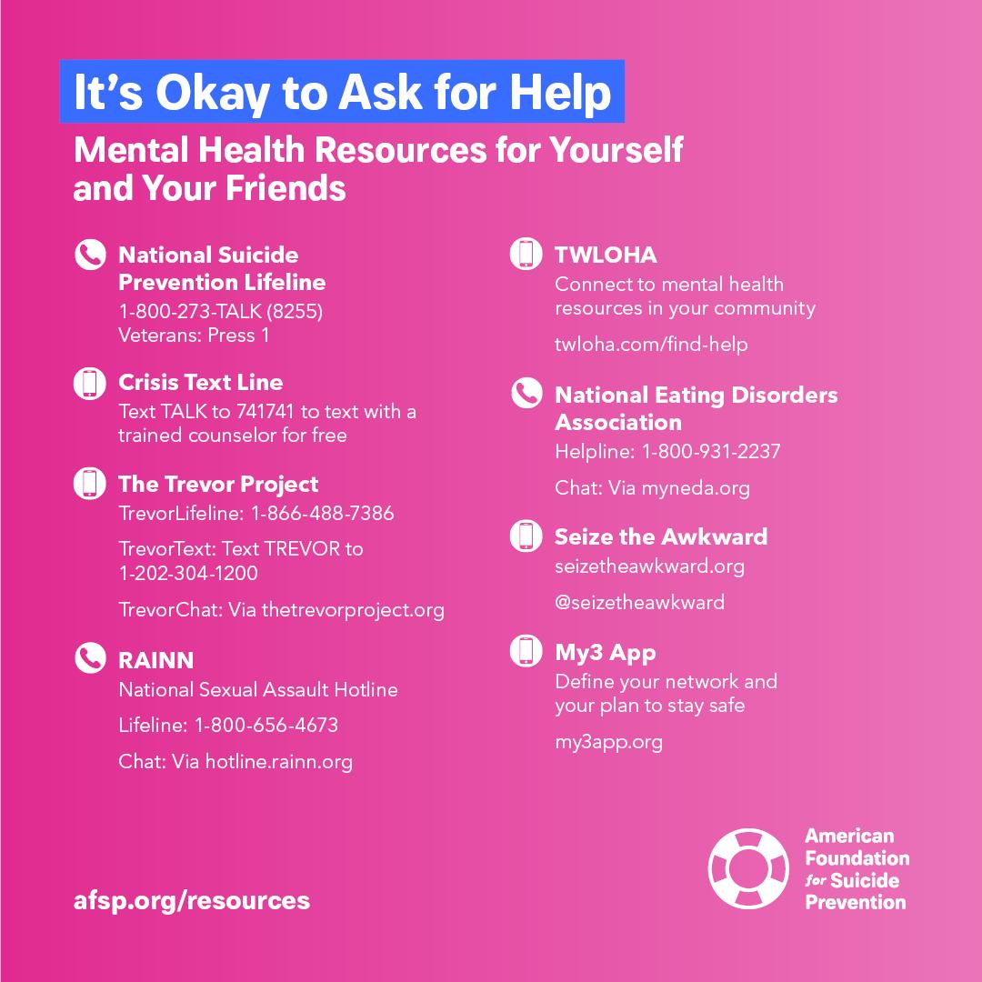 Its okay to ask for help. These resources are always here for you and your friends: 💙 @800273TALK 💙 @CrisisTextLine 💙 @TrevorProject 💙 @RAINN 💙 @TWLOHA 💙 @NEDAstaff