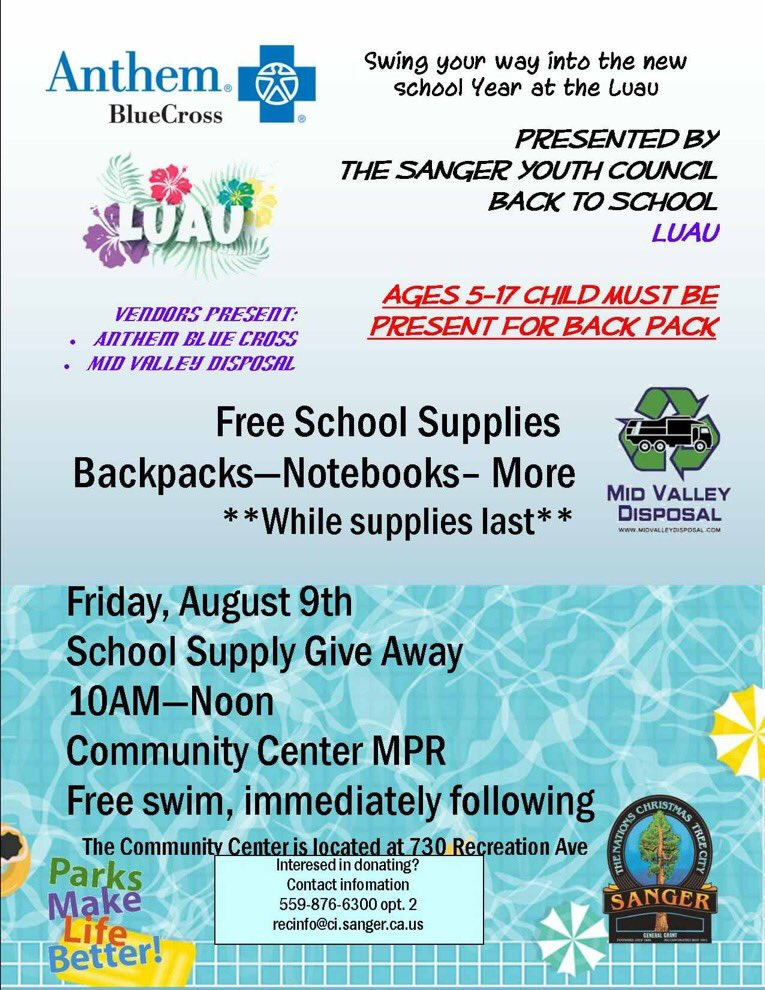 Back to School Luau, presented by the Sanger Youth Council