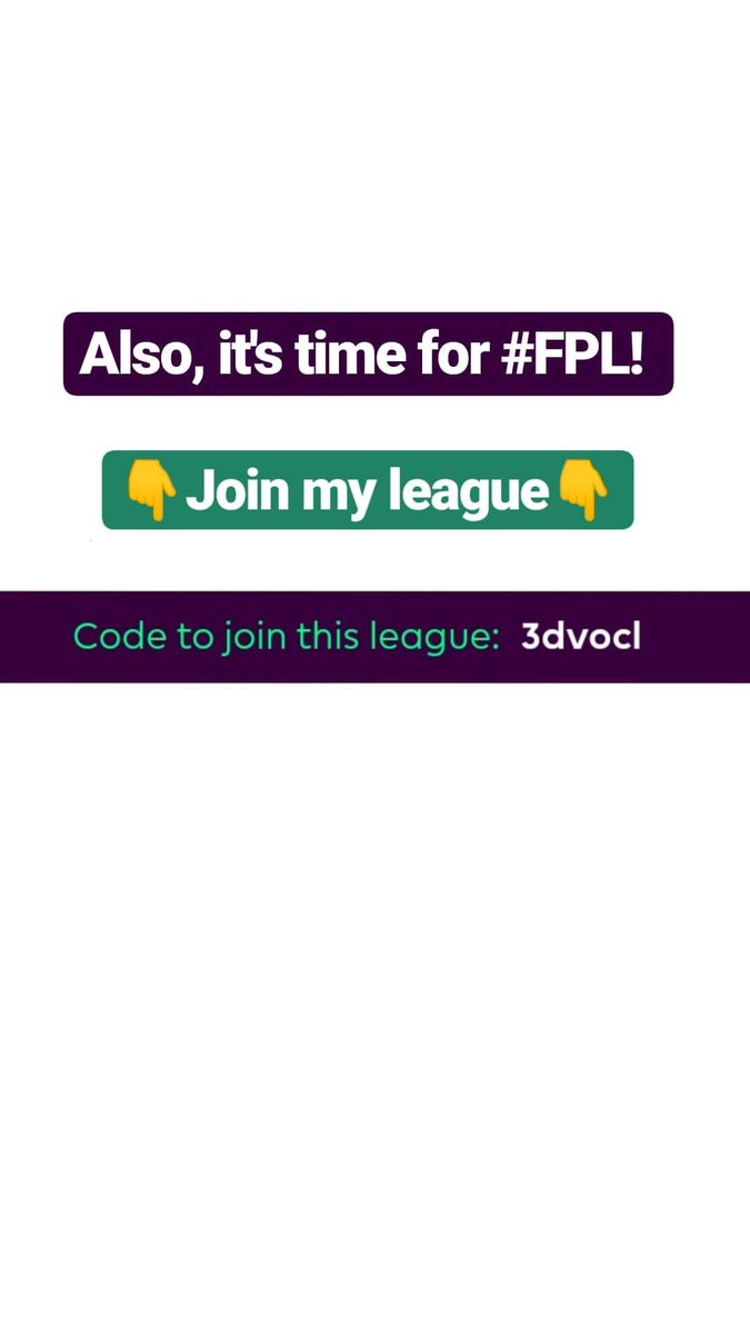 Time to join my @OfficialFPL league! The code is : 3dvocl #FPLFamily