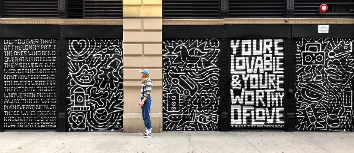 psa: youre lovable and youre worthy of love! something my therapist tells me once a week. new spray paint installation in NYC, finished in a couple hours back in may