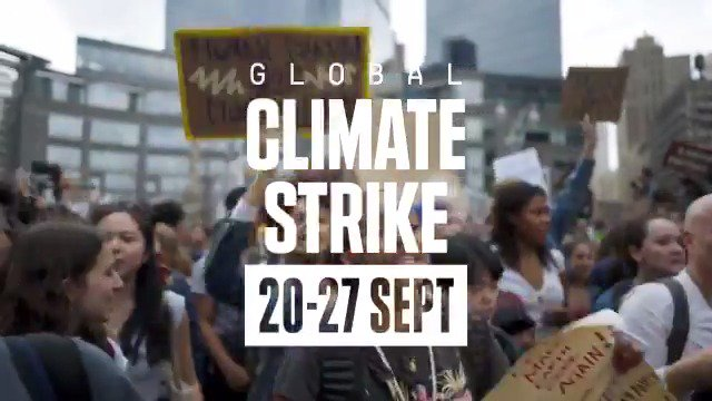 Climate breakdown isn't inevitable. We know the solutions we need, and together, we have the power to make them happen. On Sept 20-27, join the global #ClimateStrike. Find a strike event near your today >>>globalclimatestrike.net