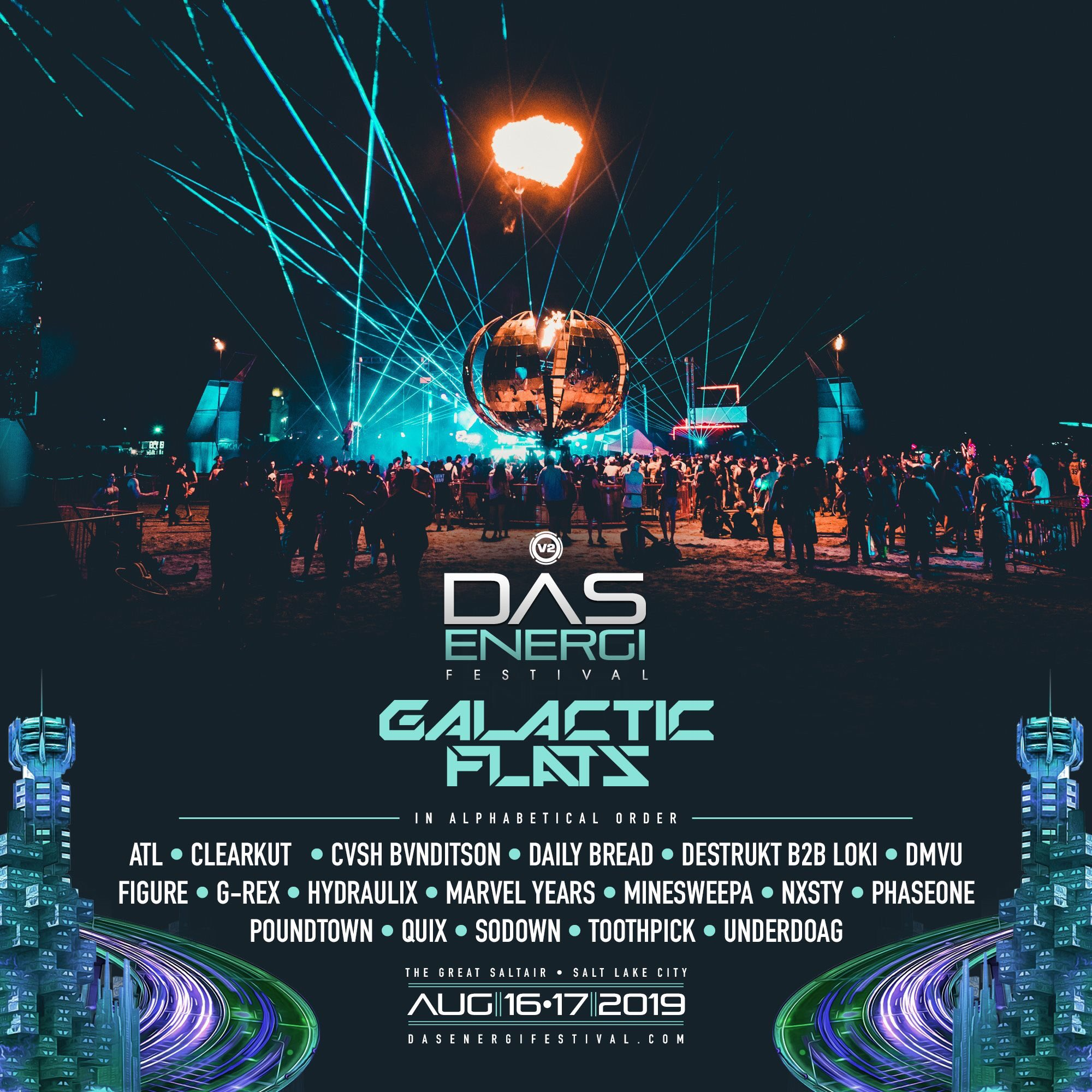 2019 Das Energi Festival lineup for Galactic Flats