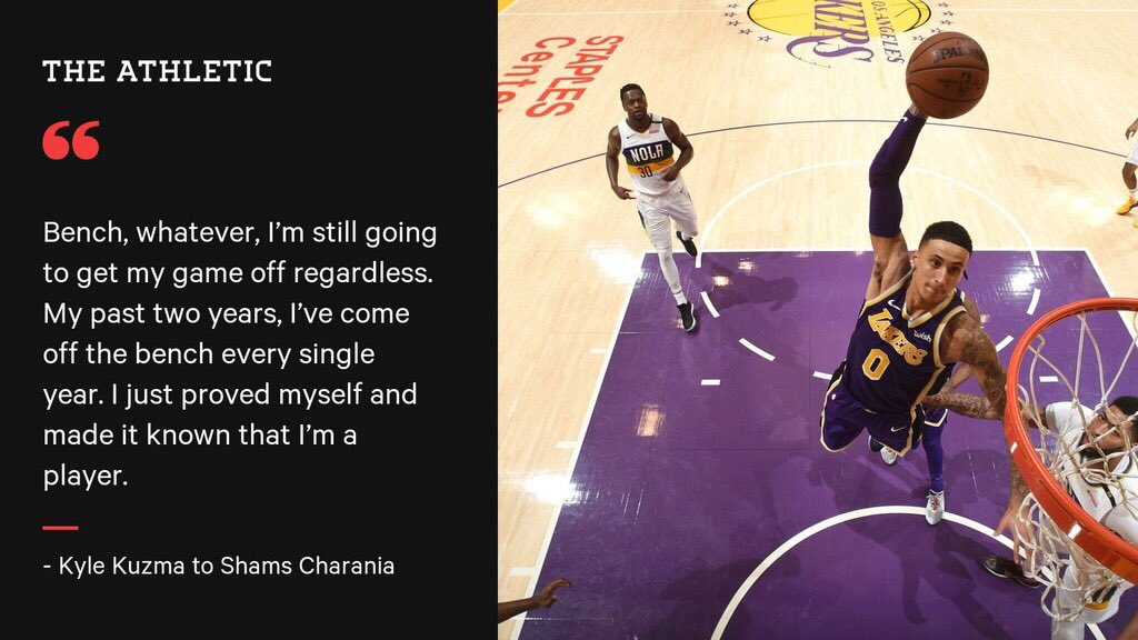 Kyle Kuzma talked to @ShamsCharania about trying to earn a starting role with the Lakers this year, but he says he can contribute no matter what. Also in the story: ➡️ Trade talk behind him ➡️ LeBron's player's only camp ➡️ Motivation to form LAL Big 3 theathletic.com/1125596/2019/0…