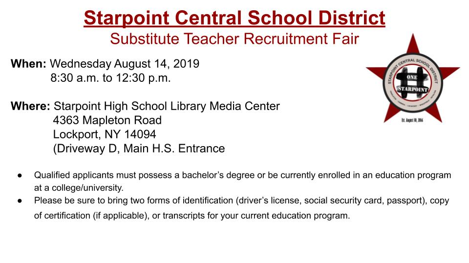 @StarpointCSD Substitute Teacher Recruitment Fair - Wed, 8/14 from 8:30am-12:30pm
