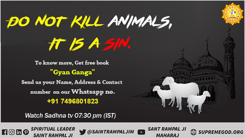 #FridayMotivation It is a great criminal to break the laws of Allah. Whether he is a person of any religion. Gosht (flesh) eater is a demon (devil). Let us think that by becoming a devil can we find Allah ??Must Watch Ishwar Channel at 8:30 pm  <br>http://pic.twitter.com/JurC4IgsNr