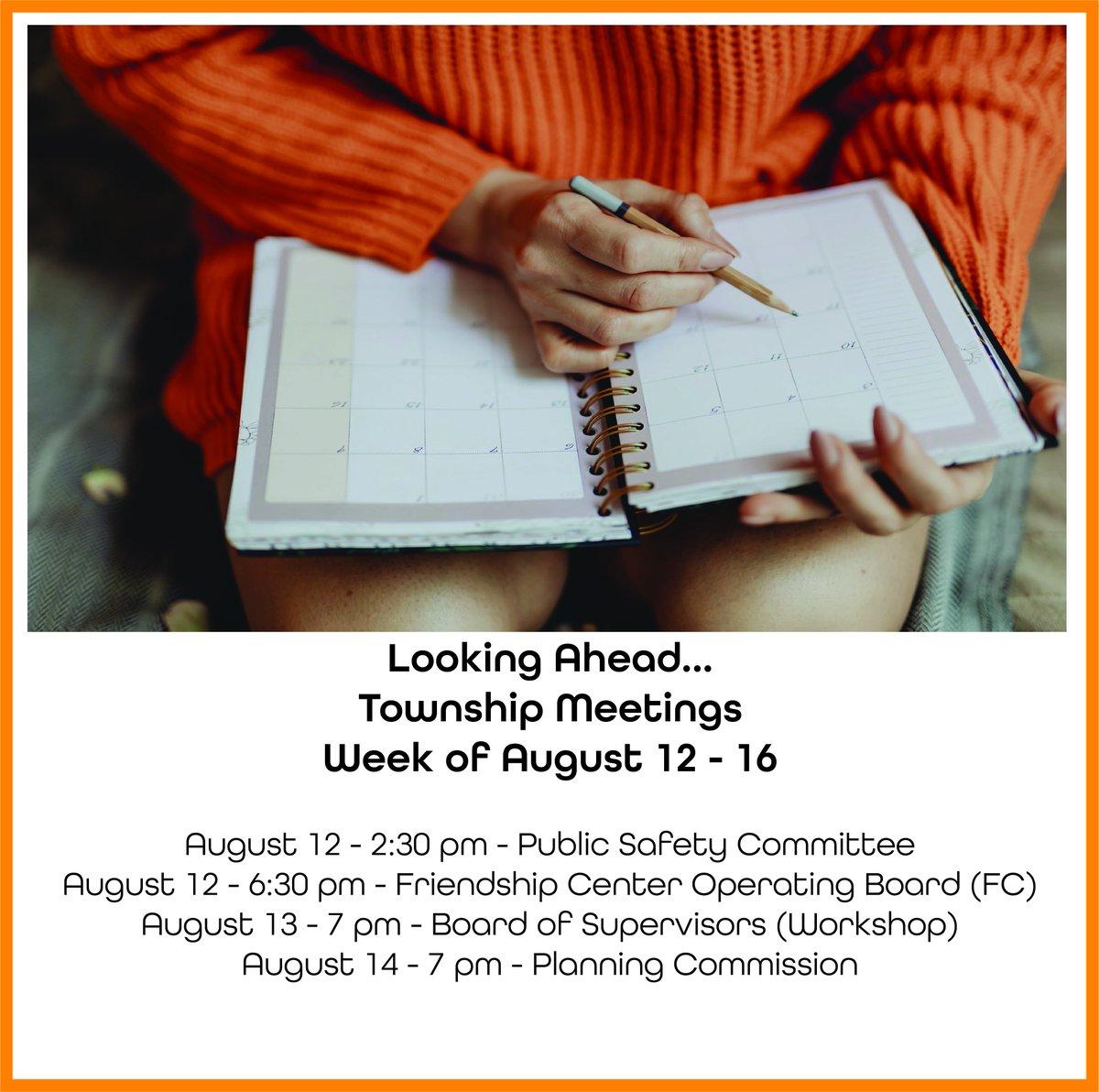 Plan Ahead. Next week's Township Meetings Schedule... #lowerpaxtontwp #stayinformed #ourcommunity