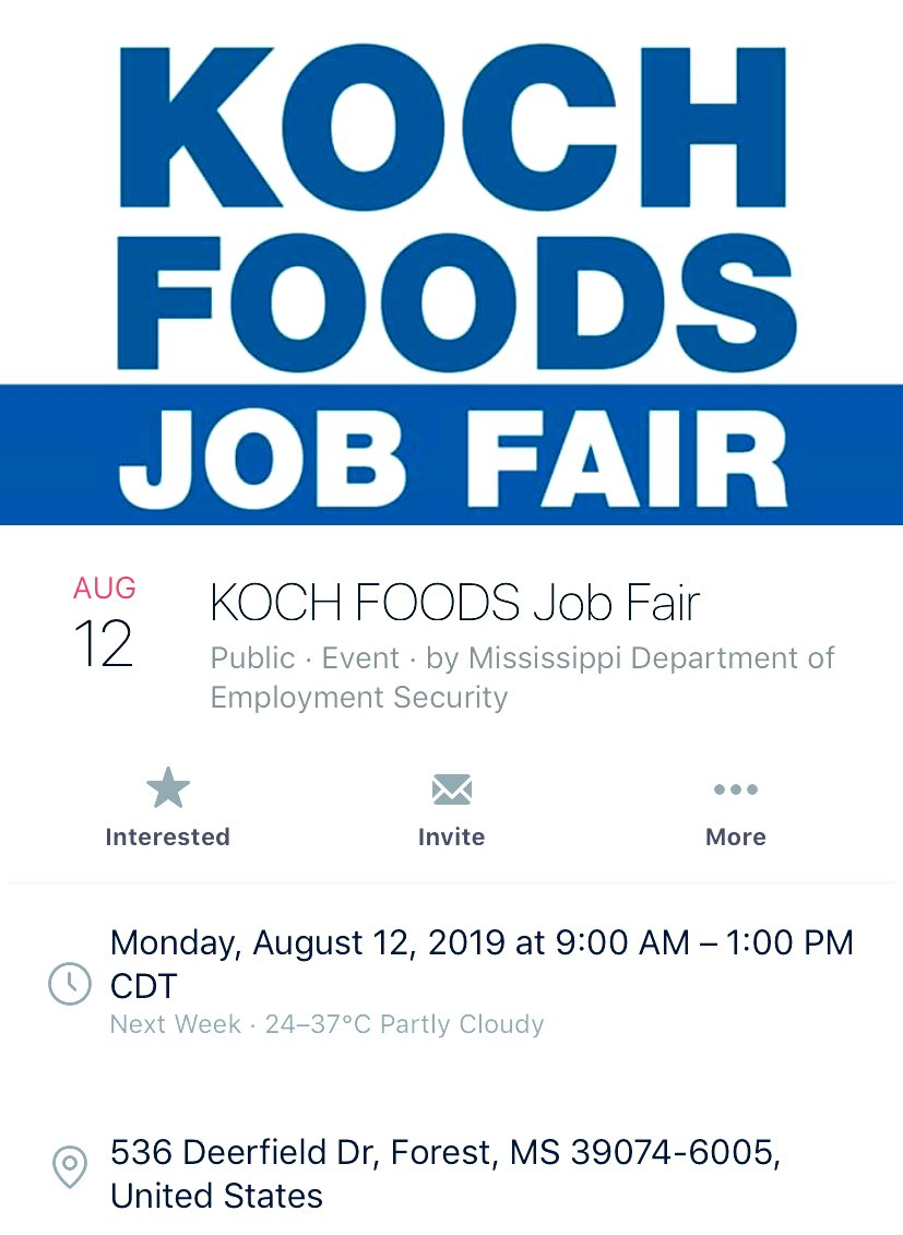 A Koch Foods Job Fair announced after many of their workers were detained from their meatpacking plants - 2 of the 7 raided were Koch Foods - many are still detained after Wednesday's #Mississippi #ICEraids #ICEraidsMS and others are too scared to show up to work <br>http://pic.twitter.com/9C4EPyaiSD