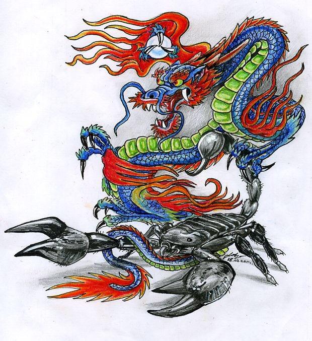 Картинка дракон и скорпион