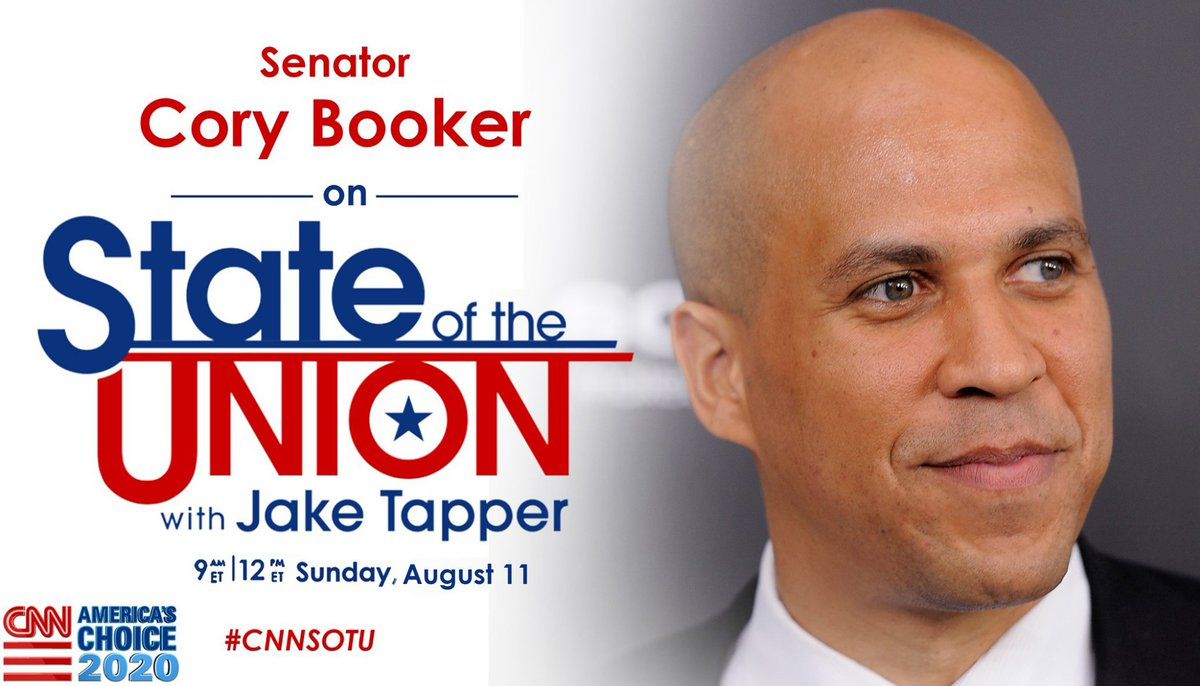 This Sunday on #CNNSOTU with @jaketapper at 9a ET: @CoryBooker. Tune in!