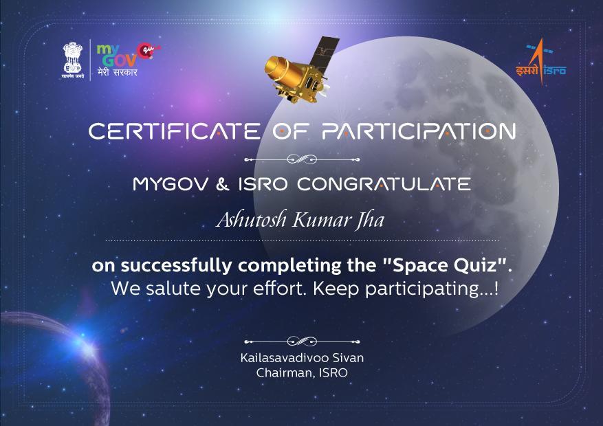 participated in space quiz @narendramodi @isro @PMOIndia @mygovindia