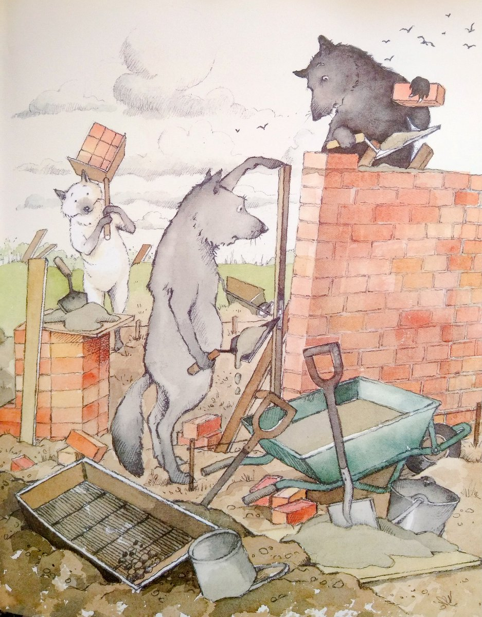 """#BookIllustrationOfTheDay is by Helen Oxenbury for """"The Three Little Wolves and the Big Bad Pig"""" by Eugene Triviazas (1993). A fun spin on the well known story, graced by Oxenbury's funny, characterful and fresh watercolours. <br>http://pic.twitter.com/e3sTbpRA83"""