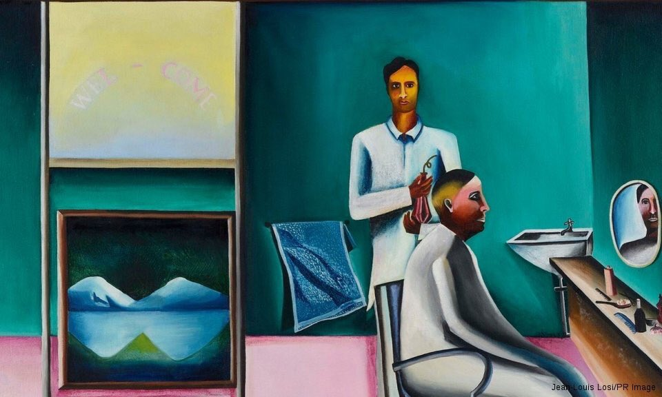 """What does it take to give a good haircut? 💇♀️ Apparently a lot, as I learnt from my recent experience in #Chandigarh - This painting by #BhupenKhakhar is a reminder to how important old-school parlours are, as opposed to the """"experience lounges"""" coming up these days. 😡"""