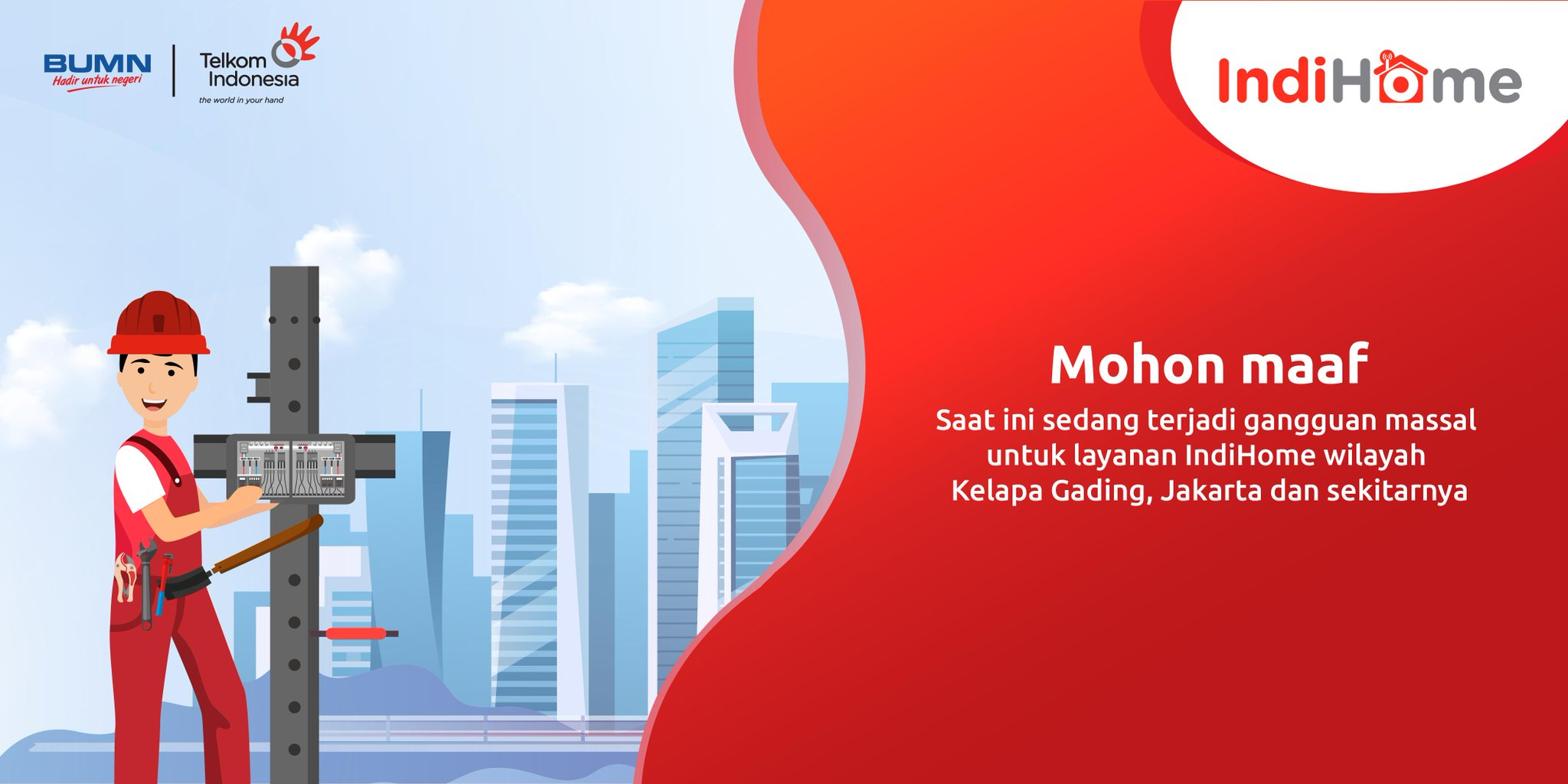 Telkom Care u0432 Twitter Saat Ini Sedang Terjadi Gangguan Massal Layanan Indihome Di Wilayah Kelapa Gading Jakarta Utara Dan Sekitarnya Dampak Dari Terputusnya Kabel Fiber Optik Di Wilayah Semanan Saat Ini