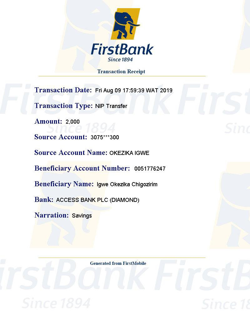 I transfered N2,000 from My First bank to my DiamondAccess account, I was deducted from my First Bank, but wasn't Credited on my Diamond Bank.@FirstBankngr