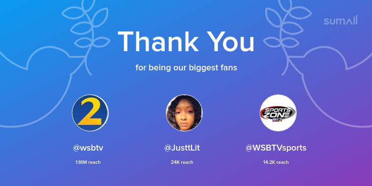 Our biggest fans this week: wsbtv, JusttLit, WSBTVsports. Thank you! via sumall.com/thankyou?utm_s…