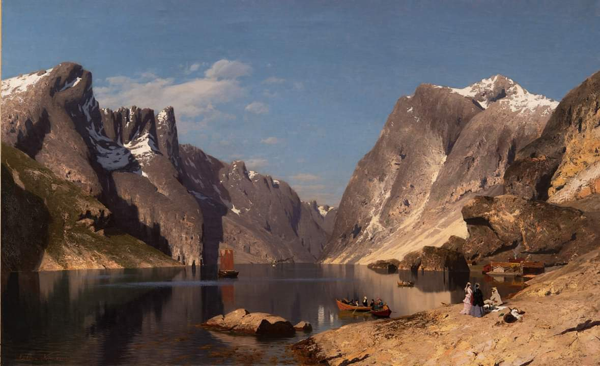 Beautiful 😊 «From the Romsdalsfjord» (1875) by Norwegian painter Eilert Adelsteen Normann via @kodebergen #Norway #art #landscapes #fjords @fjordnorway @epicfjords