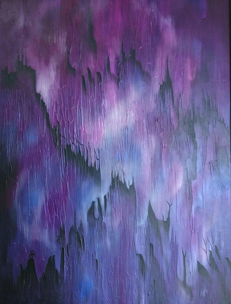 Dark Side of the Moon and Purple Rain. #abstractart #mixedmedia #fantasy #fineart #heavenlybodies #purple