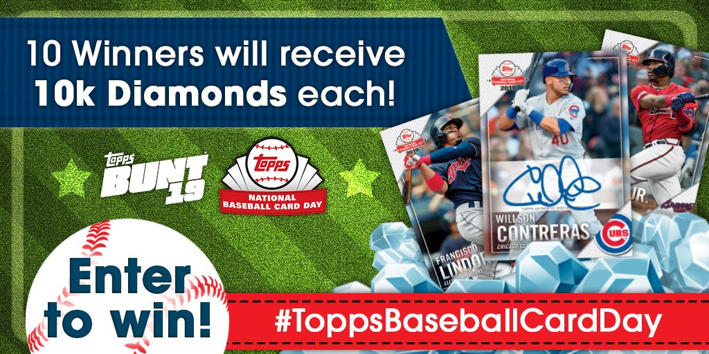 HAPPY #TOPPSBASEBALLCARDDAY!!! 😍 To celebrate one of the best days of the year, we have a Diamond giveaway for you! To enter: Retweet, reply w/ your fan name & a screenshot of your all-time favorite card in your BUNT collection! 10 fans (chosen Mon.) will win 10k Diamonds each!