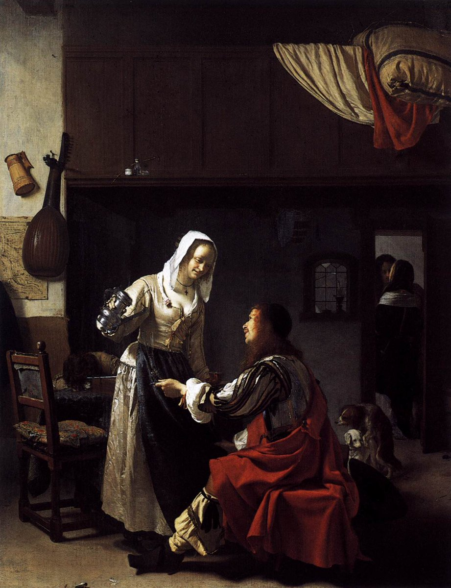 """Hear ye! With all that's going on in the news today... our #StuartsSaturday topic is SLEAZY STUARTS. #KeepItStuart  Frans van Mieris the Elder, """"Brothel Scene"""", 1658. Mauritshuis, The Hague. #17thCentury <br>http://pic.twitter.com/X8gxPFIPGc"""