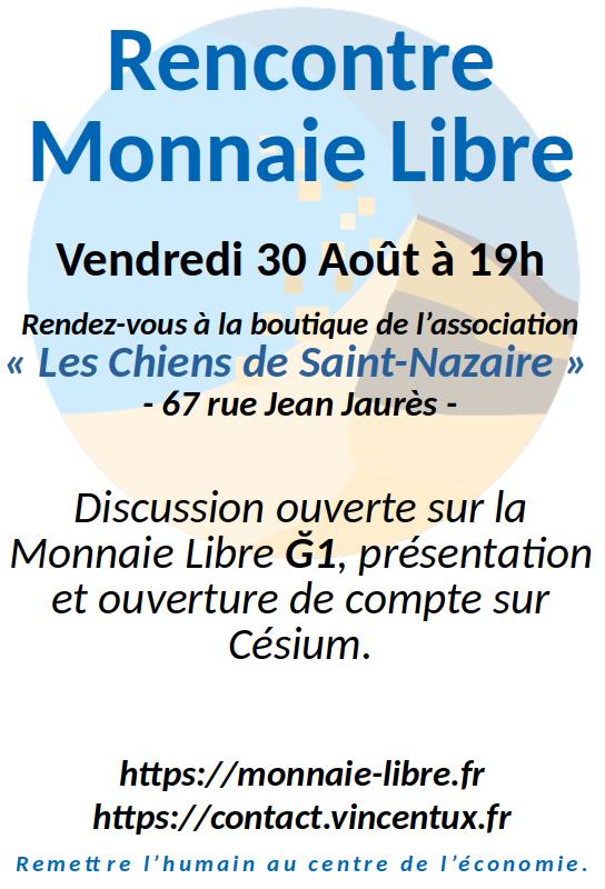 🥳 Apéro Monnaie Libre Ğ1Rendez-vous le vendredi 30 sur Saint-Nazaire (44).➡️https://forum.monnaie-libre.fr/t/saint-nazaire-apero-monnaie-libre-du-30-08-2019/7290…#MonnaieLibre #Duniter #Ğ1 #SaintNazaire #Nantes
