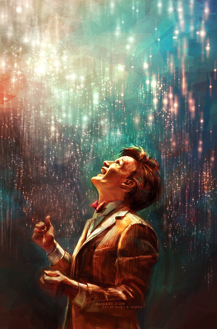 Look at the sky... its not dark and black and without character. The black is, in fact, deep blue. And over there: lighter blue, and blowing through the blues and blackness... shining, burning, bursting through: the stars! And you see how they roar their light. #DoctorWho