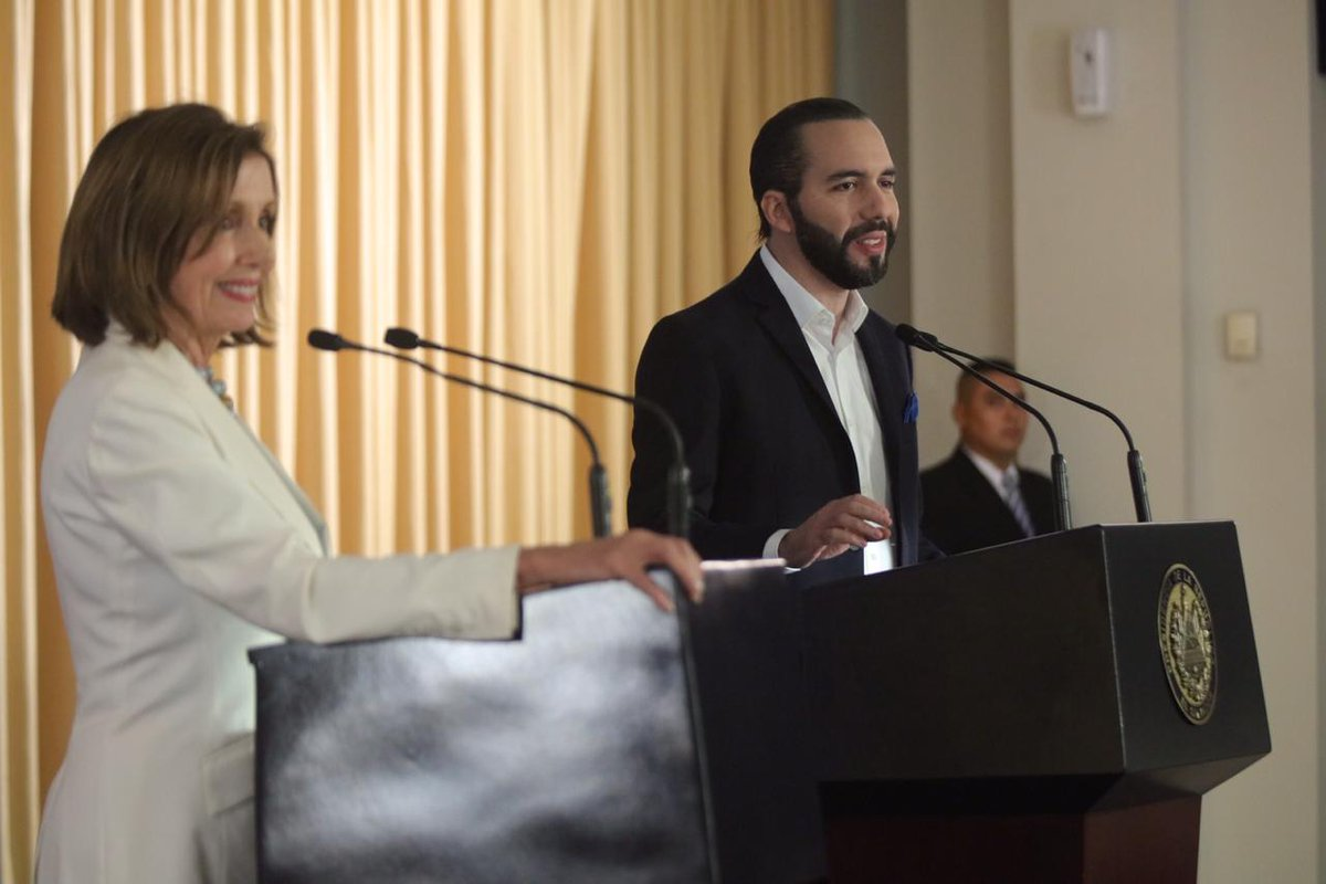 Yesterday, our delegation met with El Salvador's President @NayibBukele and discussed the need to address the drivers of migration. We also paid homage to those lost to the 1989 Jesuit priests massacre & had the honor of meeting the US Marine detachment who serve at the embassy. https://t.co/SH6gKPSvkT