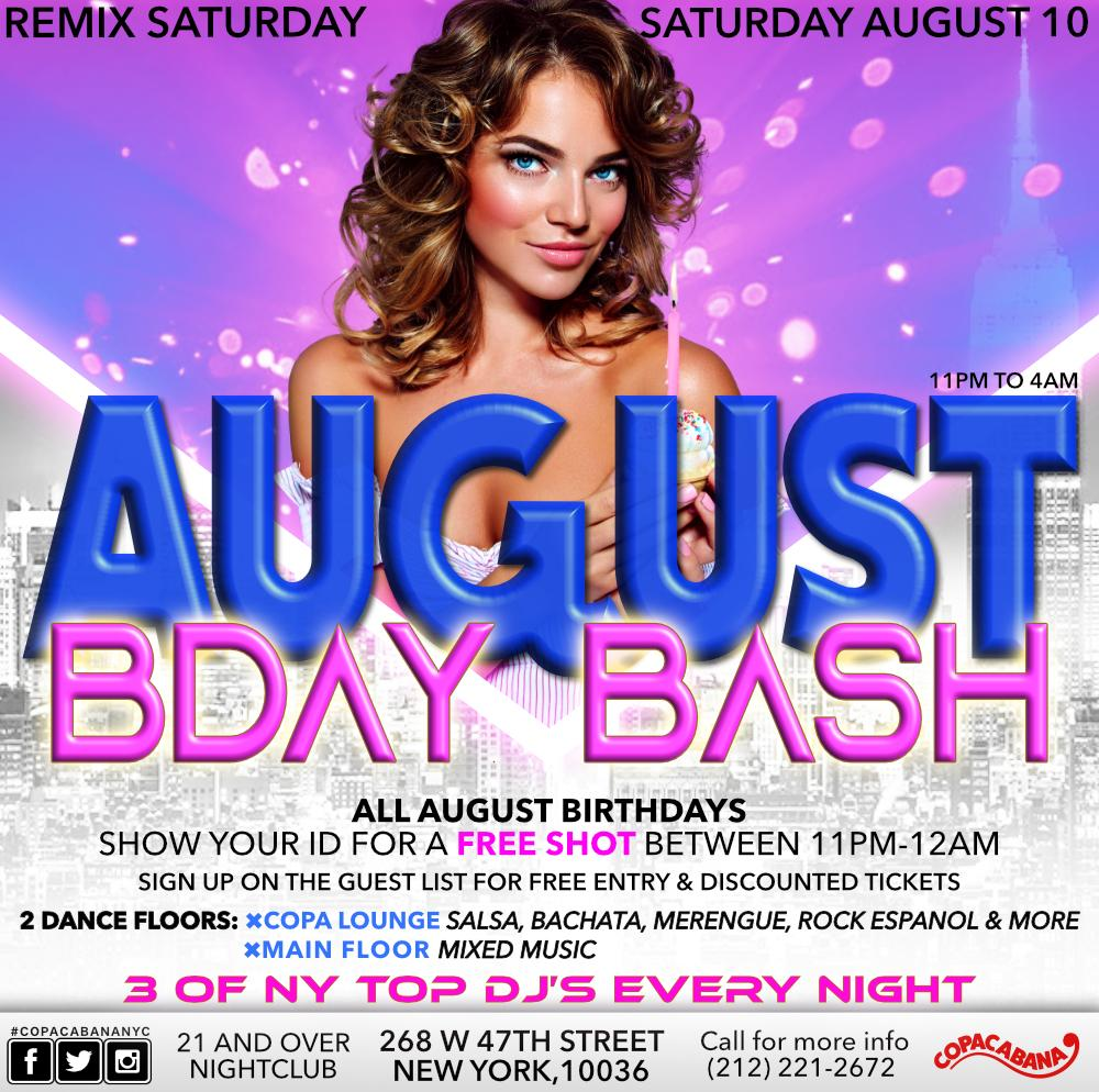 All AUGUST Birthdays: Show your ID for a Free Shot between 11pm-12am