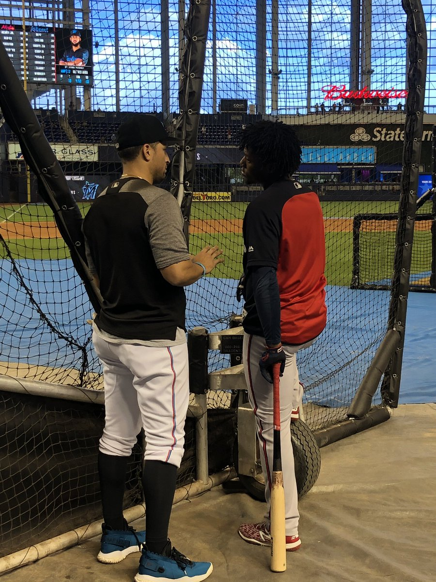 Ronald Acuña having a chat with former Brave Martin Prado. #Braves