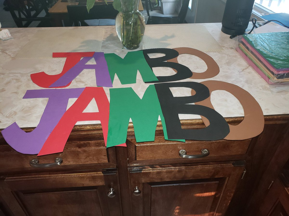 Welcome signs for my @KCPS_ACPLower classrooms (STEM & Computer Lab). Jambo=Hello. #culture #pride #village