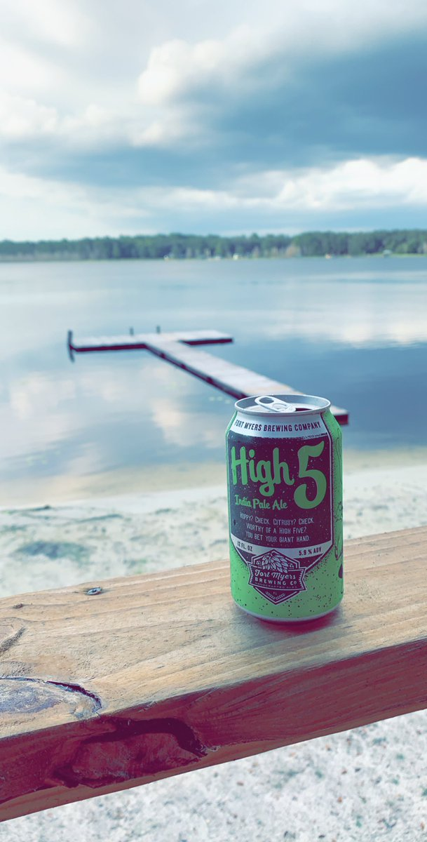 Ice cold @FMBrew High Five on a blazing hot Florida afternoon at the lake.