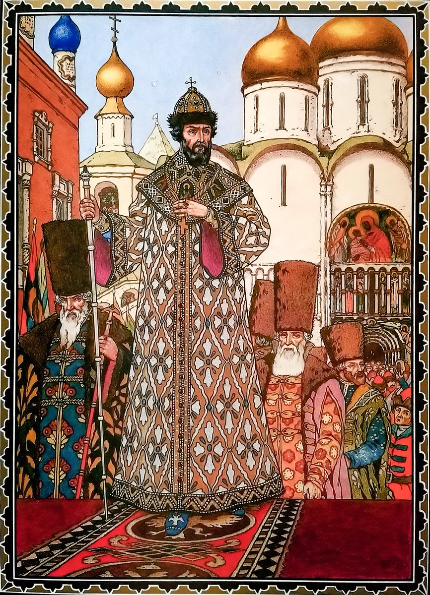 """#BookIllustrationOfTheDay is by Boris Zvorykin for Alexander Pushkin's play """"Boris Godunov"""" (1927). Russian exile Zvorykin captures all the ostentatious pomp in Bilibin-esque gouache paintings of infamous Tsar """"Boris"""" - ambitious charlatan, troubled usurper. See also: Mussorgsky. <br>http://pic.twitter.com/Bo9VXRsqJN"""