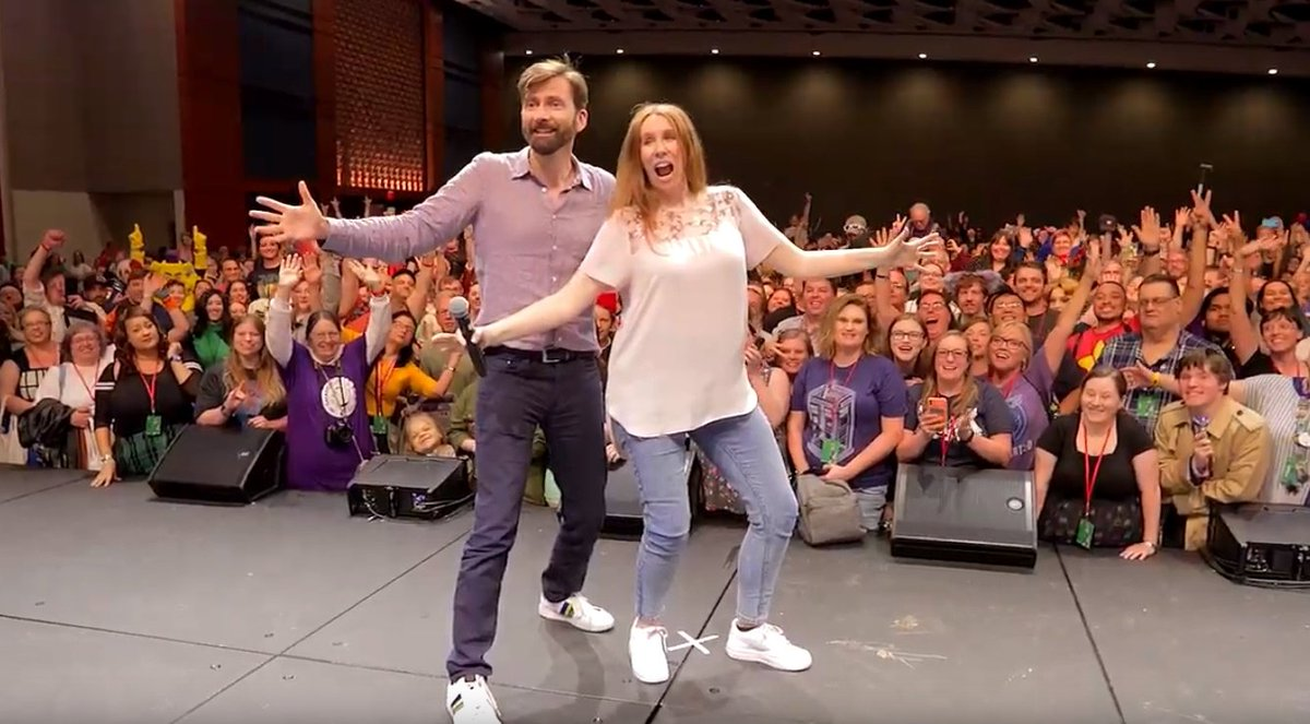 David Tennant and Catherine Tate at their joint panel at GalaxyCon Raleigh fan convention on Friday 26th July 2019