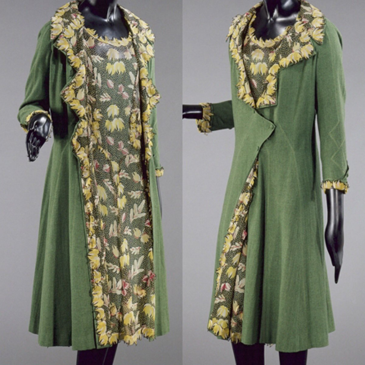 Travelling home today, I shall imagine myself arrayed in this #1920s @CHANELofficiaI ensemble, printed silk muslin dress & green cotton coat with matching lining & chic asymmetric fastening. The reality is a 6 hour ferry journey & plethora of sick bags.....*sigh* @PalaisGalliera<br>http://pic.twitter.com/143nbrKu2y
