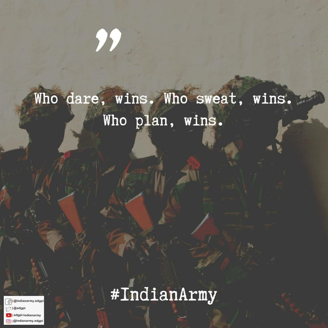 "#SundayMotivation #SundayThoughts #StrikingSunday  ""Who dares, wins. Who sweats, wins. Who plans, wins.""  #IndianArmy #NationFirst https://t.co/wAiupdBzXY"
