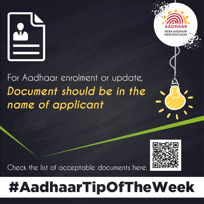 #AadhaarTipOfTheWeek  Refer to the latest list of supporting documents acceptable for Aadhaar enrolment or update:  https:// uidai.gov.in/images/commdoc /valid_documents_list.pdf  …  . Make sure the document you are using is in your name.<br>http://pic.twitter.com/J0c0CDZw0u