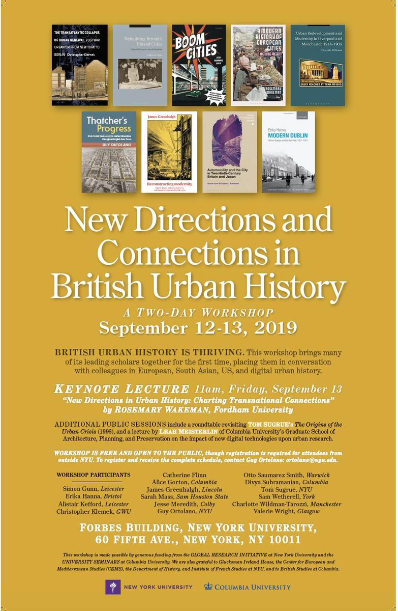 New Directions and Connections in British Urban History, with some UHG favourites, NYU 12-13th September. @sarahmmass @OSaumarezSmith @ABearPursuesMe @TheHistoryGirrl @samwetherell @jimmygreenhalgh @VAWright10 https://t.co/ww80R4Bvd2