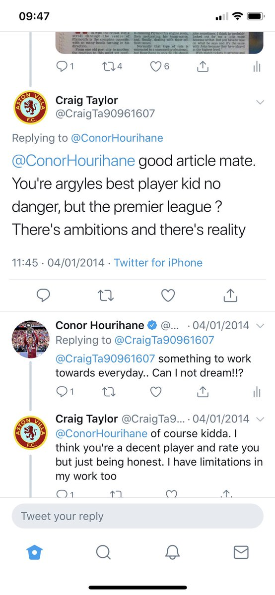 Hi Craig, remember this tweet back in 2014... I always remember it to this day. Ironically your a Villa fan who I made my debut with! Never tell anyone they can't achieve something 👍🏻 @CraigTa90961607