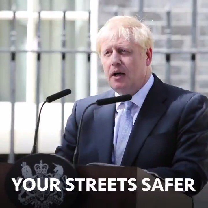 """""""My job is to make your streets safe. 20,000 new police, powers for stop and search – and 10,000 new prison places."""" – PM @BorisJohnson ➡️ gov.uk/government/new…"""