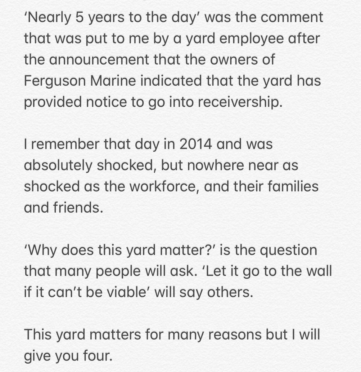 Further comment on the situation at Ferguson's Marine Engineering: #Inverclyde #fergusonsmarine #portglasgow #MSP #shipbuilding #scottishpolitics @theSNP @Inverclyde_SNP @greenocktele