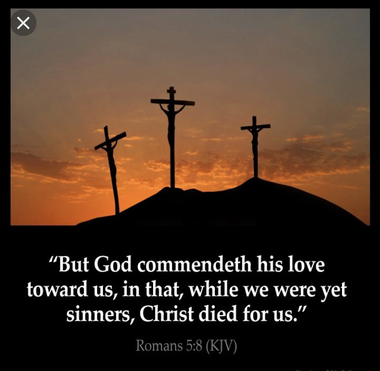 Scripture Of The Day: Romans 5:8 King James Version (KJV)  8 But God commendeth his love toward us, in that, while we were yet sinners, Christ died for us. #JesusSaves #JesusIsLord <br>http://pic.twitter.com/pDi3v2iKtk